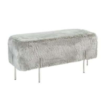 Marlon Solid Metal Frame Ottoman Uphostery: Gray, Finish: Polished Silver