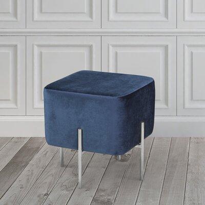 Britannia Cube Ottoman Color: Blue/Silver