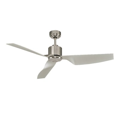 50 Hutton 3 Blade Ceiling Fan with Remote Finish: Brushed Chrome with Silver Blades
