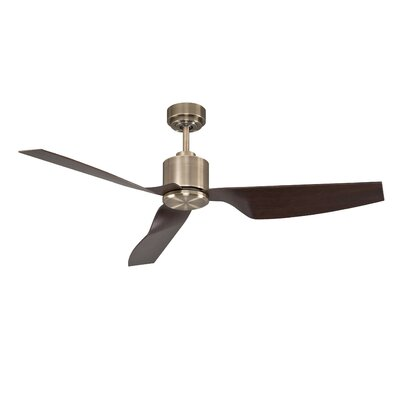 50 Hutton 3 Blade Ceiling Fan with Remote Finish: Antique Brass with Walnut Blades
