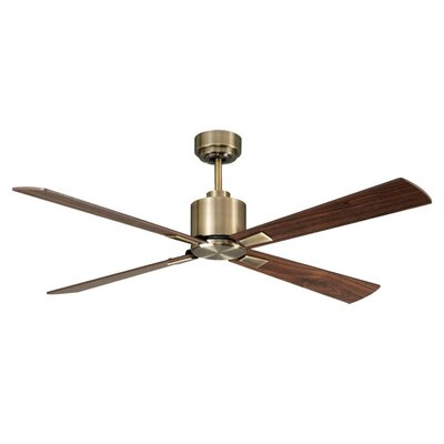 52 Sheilds 4 Blade Ceiling Fan with Remote Finish: Antique Brass with Walnut Blades