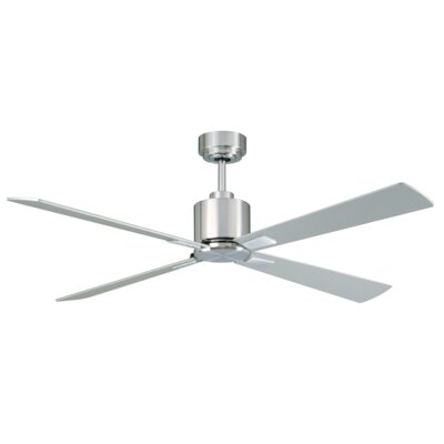 52 Sheilds 4 Blade Ceiling Fan with Remote Finish: Brushed Chrome with Silver Blades