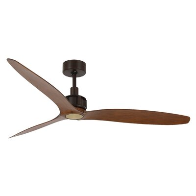 52 Viceroy 3 Blade Ceiling Fan with Remote Finish: Koa with Oil Rubbed Brass Blades