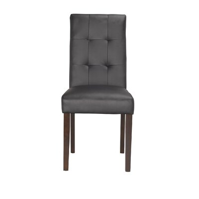Lyon Upholstered Dining Chair (Set of 2) Color: Black