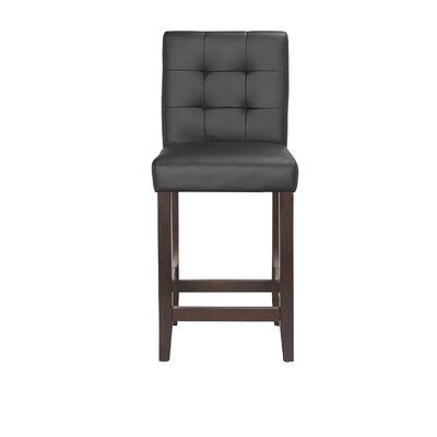 Lyon 24 Bar Stool (Set of 2) Upholstery: PU - Black