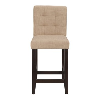 Lyon 24 Bar Stool (Set of 2) Upholstery: Linen - Khaki