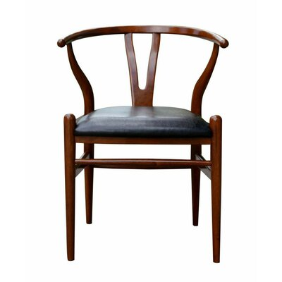 Wishbone Genuine Leather Upholstered Dining Chair Color: Cherry