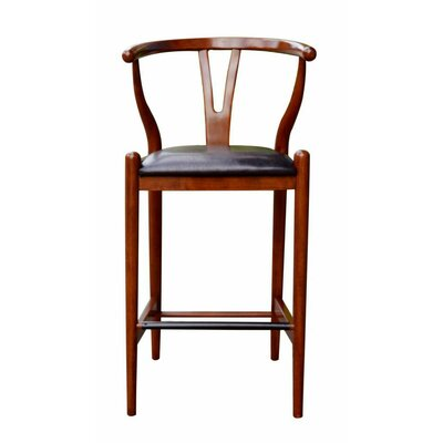 Luman 29 Bar Stool Finish: Cherry, Upholstery: Black