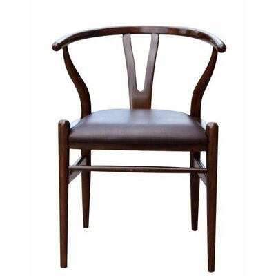 Wishbone Genuine Leather Upholstered Dining Chair Color: Cappuccino