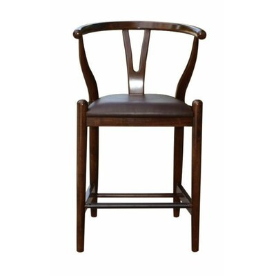 Luman 24 Bar Stool Finish: Cappuccino, Upholstery: Chocolate Brown
