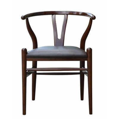 Wishbone Genuine Leather Upholstered Dining Chair Color: Walnut
