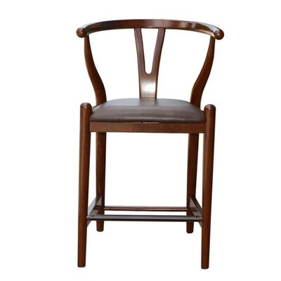 Wishbone 24 Bar Stool Upholstery: Chocolate Brown, Finish: Walnut
