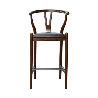 Luman 29 Bar Stool Finish: Cappuccino, Upholstery: Chocolate Brown