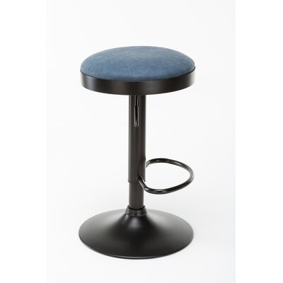 Taya Adjustable Height Swivel Bar Stool Upholstery: Sapphire