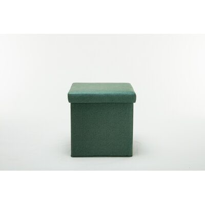 Britany Upholstered Folding Storage Ottoman Color: Green