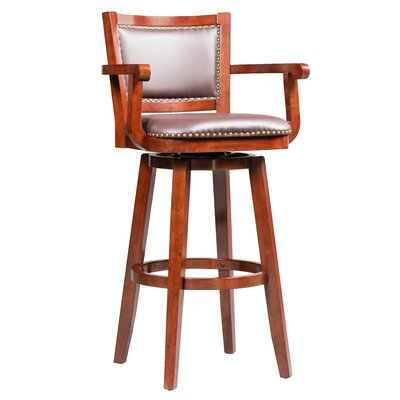 Cammy Swivel Bar Stool Color: Cherry