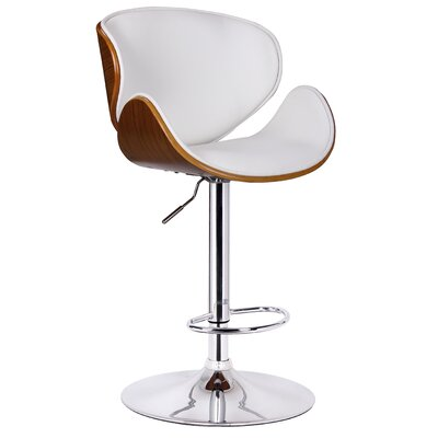 Osa Adjustable Height Swivel Bar Stool Upholstery: White