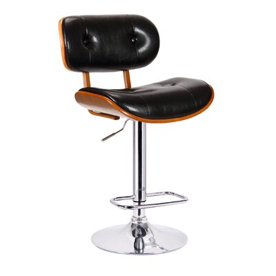 Smuk Adjustable Height Swivel Bar Stool Upholstery: Black