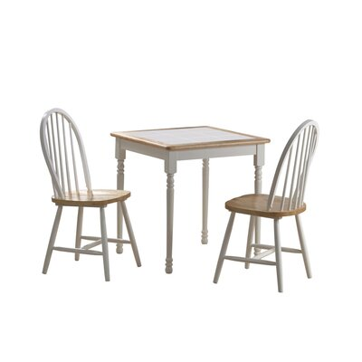 3 Piece Square Dining Set Color: White / Natural