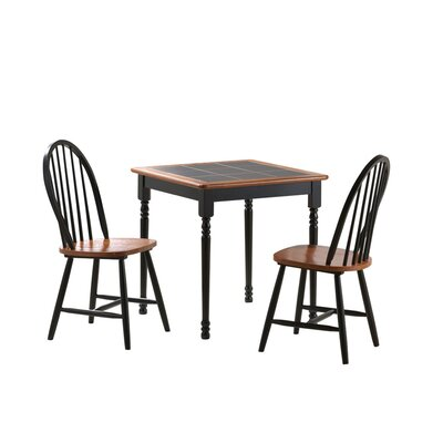 3 Piece Square Dining Set Color: Black / Cherry