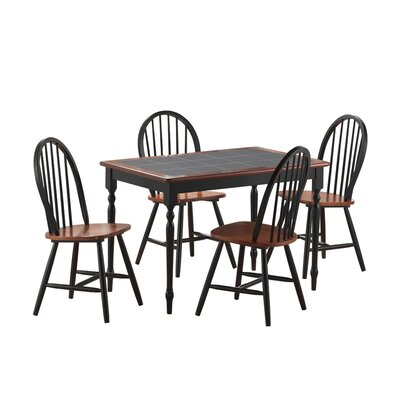 5 Piece Dining Set Color: Black / Cherry