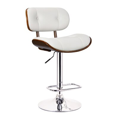 Smuk Adjustable Height Swivel Bar Stool Color: Dark Brown, Upholstery: White