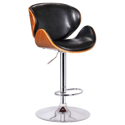 Osa Adjustable Height Swivel Bar Stool Upholstery: Black