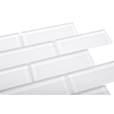 2 x 6 Small Glass Subway Tile in White