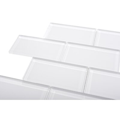 3 x 6 Large Glass Subway Tile in White