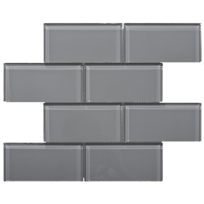 Premium Series 3 x 6 Glass Subway Tile in Dark Gray