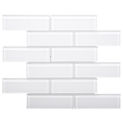Premium Series 2 x 6 Glass Subway Tile in White