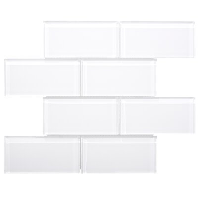 Premium Series 3 x 6 Glass Subway Tile in White