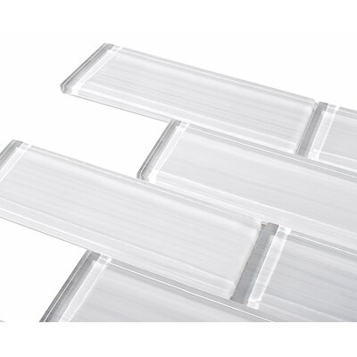 Premium Series 2 x 6 Hand Painted Glass Subway Tile in White