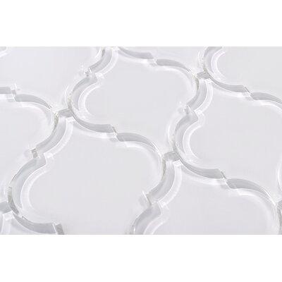 Water Jet Lantern 3 x 3 Glass Mosaic Tile in White