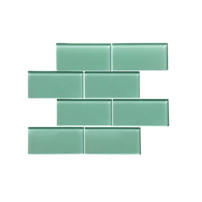 Premium Series 3 x 6 Glass Subway Tile in Glossy Light Teal