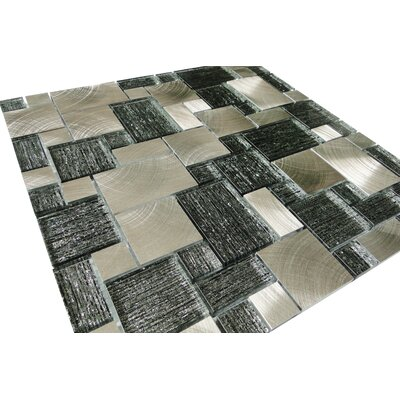 Twilight Series Random Sized Glass and Aluminum Mosaic Tile in Glossy Silver and Gray