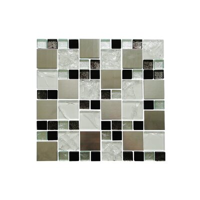 Twilight Series Random Sized Glass and Aluminum Mosaic Tile in Glossy White