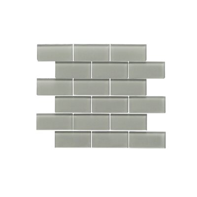 "Premium Series 2"" x 4"" Glass Subway Tile in Glossy Dark Gray WST-02W"