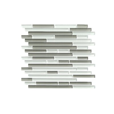 Verona Series Random Sized Glass Mosaic Tile in Glossy White/Gray