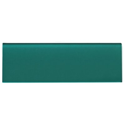 "Premium Series Individual 4"" x 12"" Glass Subway Tile in Glossy Dark Teal WST-07P"