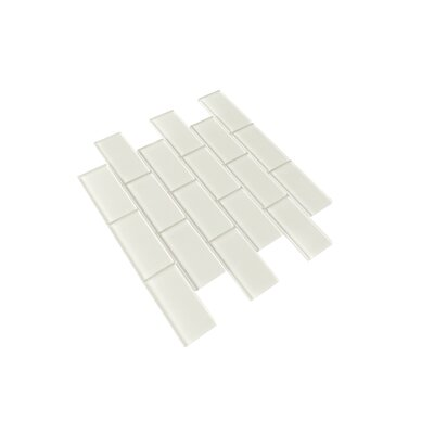 Premium Series 2 x 4 Glass Subway Tile in Glossy Icy Gray