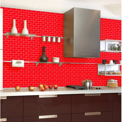 2 x 4 Glass Mosaic Tile in Red (Set of 5)