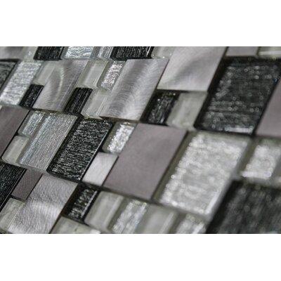 Twilight Random Sized Glass/Aluminum Tile in Black/White