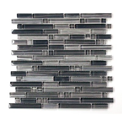 Verona Random Sized Hand Painted Glass Tile in Gray