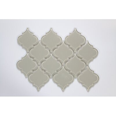 Water Jet Series 3 x 3 Glass Mosaic Tile in Glossy Icy Gray