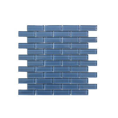 1 x 3 Glass Mosaic Tile in Ocean Blue (Set of 6)