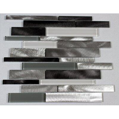 Twilight Random Sized Aluminum/Glass Tile in Gray/White