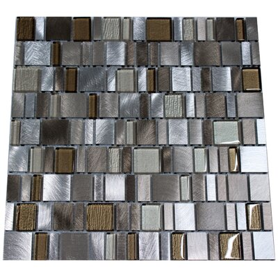 Twilight Random Sized Aluminum/Glass Tile in Gray/Beige