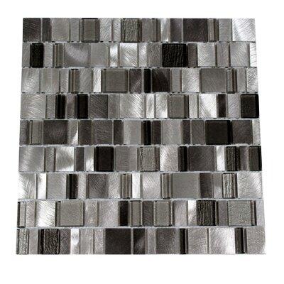 Twilight Random Sized Aluminum/Glass Tile in Gray
