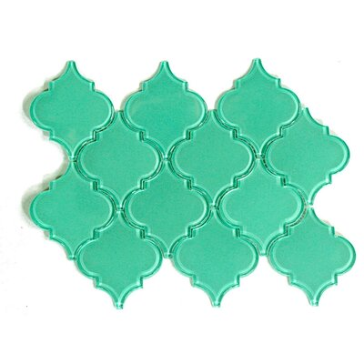 Water Jet Series Arabesque 3.5 x 4.25 Glass Mosaic Tile in Light Teal
